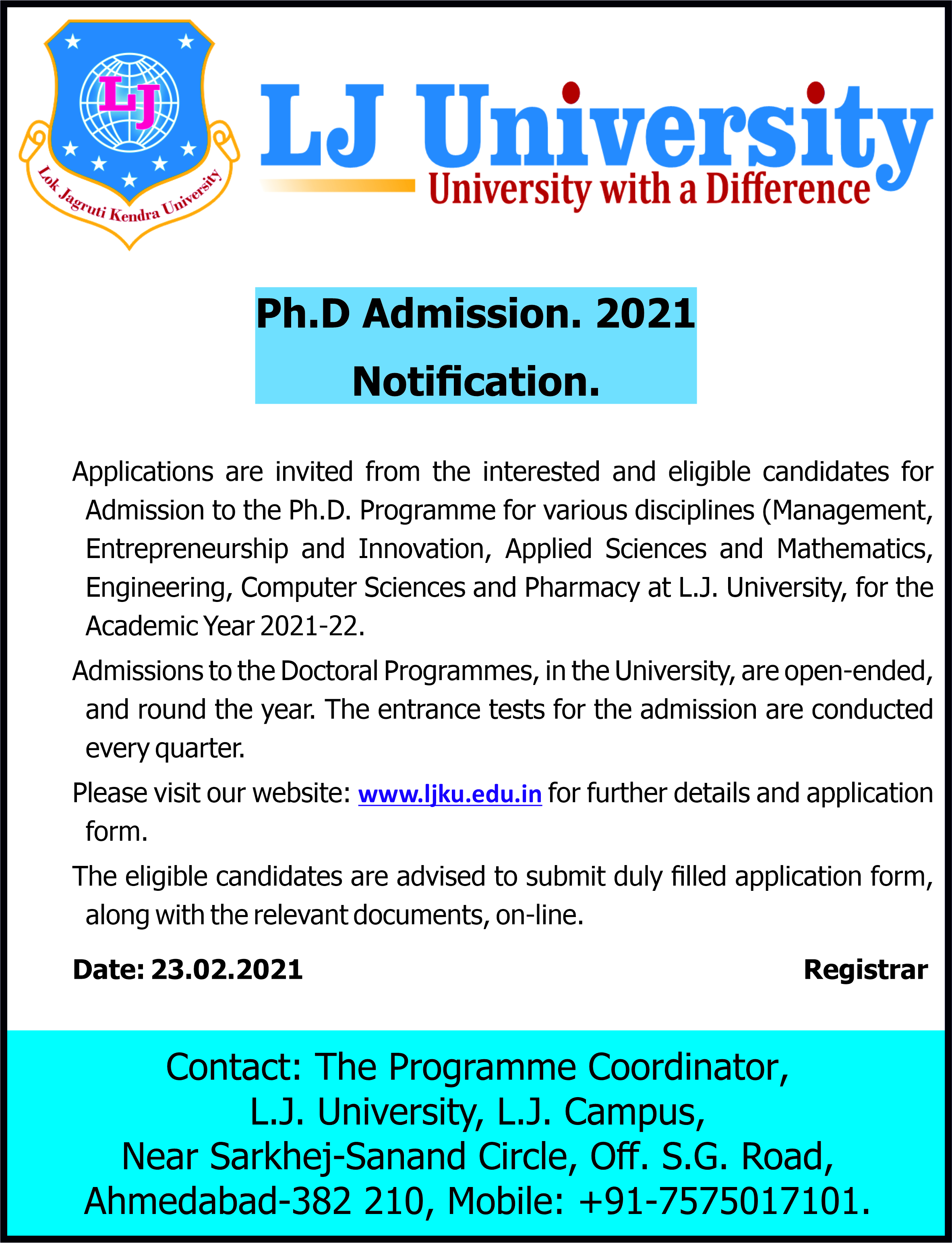 Ph.D. Notification